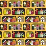 Teste padrão sem emenda bonito com as casas da estrada e dos desenhos animados Imagens de Stock Royalty Free