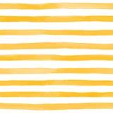 Teste padrão sem emenda bonito com as listras da aquarela do amarelo alaranjado cursos pintados à mão da escova, fundo listrado I Imagem de Stock