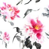 Teste padrão sem emenda bonito com as peônias cor-de-rosa pintadas com tinta no estilo japonês Papel de parede com flores da aqua ilustração royalty free