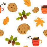 Teste padrão sem emenda bonito com a caneca de cookies do café ilustração do vetor