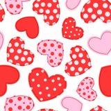 Teste padrão sem emenda bonito com corações dos retalhos Imagens de Stock Royalty Free