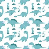 Teste padrão sem emenda bonito com dinossauros dos desenhos animados Fotografia de Stock Royalty Free