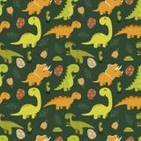 Teste padrão sem emenda bonito com dinossauros dos desenhos animados Imagens de Stock Royalty Free
