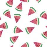 Teste padrão sem emenda bonito com fatias de melancia Fotografia de Stock
