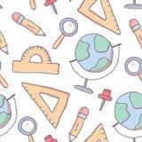 Teste padrão sem emenda bonito com fontes de escola da garatuja ilustração royalty free