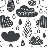 Teste padrão sem emenda bonito com nuvens de sorriso ilustração stock