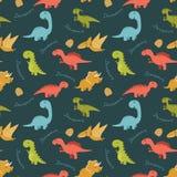 Teste padrão sem emenda bonito com os dinossauros coloridos dos desenhos animados Imagem de Stock Royalty Free