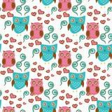 Teste padrão sem emenda bonito com pares das corujas Corujas azuis e cor-de-rosa ilustração do vetor