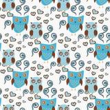 Teste padrão sem emenda bonito com pares das corujas Corujas azuis e marrons ilustração do vetor