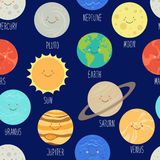 Teste padrão sem emenda bonito com personagens de banda desenhada de sorriso dos planetas do sistema solar Fundo criançola Fotografia de Stock Royalty Free