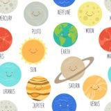 Teste padrão sem emenda bonito com personagens de banda desenhada de sorriso dos planetas do sistema solar Fundo criançola Foto de Stock