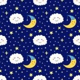 Teste padrão sem emenda bonito com personagens de banda desenhada engraçados da lua, das estrelas e das nuvens do sono ilustração do vetor