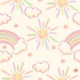 Teste padrão sem emenda bonito com sol, arco-íris e estrelas Fotos de Stock