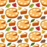 Teste padrão sem emenda bonito com tarte de abóbora e folhas de outono ilustração royalty free