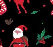 Teste padrão sem emenda bonito da aquarela do Natal com Santa Claus, as bagas, as estrelas, as peúgas e os pássaros ilustração do vetor