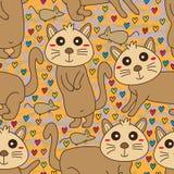 Teste padrão sem emenda bonito da cara do rato do gato Foto de Stock Royalty Free
