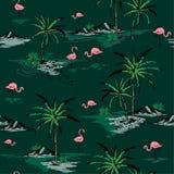Teste padrão sem emenda bonito da ilha do verão na moda na obscuridade - vagabundos verdes ilustração royalty free