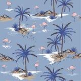 Teste padrão sem emenda bonito da ilha do verão no fundo azul fresco ilustração do vetor