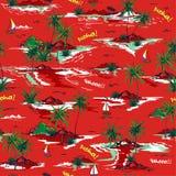 Teste padrão sem emenda bonito da ilha do verão vermelho no fundo branco ilustração stock