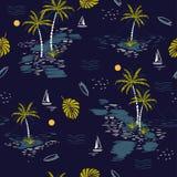 Teste padrão sem emenda bonito da ilha na obscuridade - fundo azul terras ilustração stock