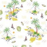 Teste padrão sem emenda bonito da ilha no fundo branco Paisagem ilustração royalty free