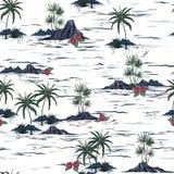Teste padrão sem emenda bonito da ilha Paisagem com palmeiras, para ser ilustração do vetor