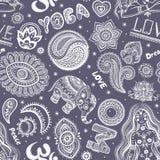 Teste padrão sem emenda bonito da ioga com ornamento Imagens de Stock Royalty Free