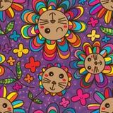 Teste padrão sem emenda bonito da pétala da flor do gato Fotos de Stock Royalty Free