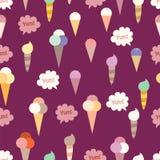 Teste padrão sem emenda bonito do fundo dos cones de gelado Imagem de Stock