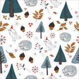 Teste padrão sem emenda bonito do inverno ilustração stock