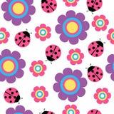 Teste padrão sem emenda bonito do vetor da flor e do joaninha ilustração royalty free