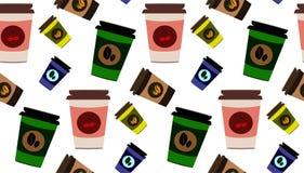Teste padrão sem emenda bonito dos copos de café do vetor Fotografia de Stock Royalty Free