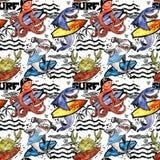 teste padrão sem emenda bonito dos peixes de mar dos desenhos animados fundo da ressaca do vintage ilustração do vetor