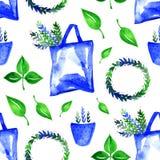 Teste padrão sem emenda botânico bonito - mão da aquarela tirada Imagem de Stock Royalty Free