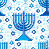 Teste padrão sem emenda branco azul do Hanukkah Imagens de Stock