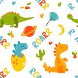 Teste padrão sem emenda brilhante com dinossauros bonitos ilustração do vetor