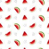 Teste padrão sem emenda brilhante com fatias e sementes da melancia ilustração stock