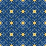 Teste padrão sem emenda brilhante dos círculos e das pétalas Azul e ouro Imagem de Stock Royalty Free