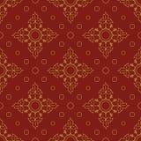Teste padrão sem emenda brilhante dos círculos e das pétalas Vermelho e ouro Foto de Stock Royalty Free