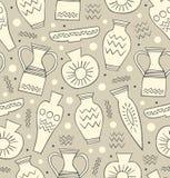 Teste padrão sem emenda cerâmico Fundo grego nacional étnico do estilo China Textura infinita com utensílios de mesa tirados mão ilustração stock