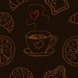 Teste padrão sem emenda Chávena de café ou chá Produtos da padaria Imagens de Stock Royalty Free