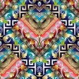 Teste padrão sem emenda chave grego listrado do vintage colorido Parte traseira floral Fotografia de Stock Royalty Free