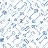 Teste padrão sem emenda chave no esboço azul ilustração royalty free