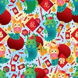 Teste padrão sem emenda chinês do zodíaco do ano do dragão Imagens de Stock Royalty Free