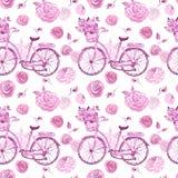 Teste padrão sem emenda chique gasto da aquarela com bicicleta retro e as flores cor-de-rosa no fundo branco Cópia botânica no es foto de stock royalty free