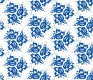 Teste padrão sem emenda chique gasto do vintage com flores e as folhas azuis Vetor Imagens de Stock Royalty Free