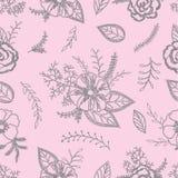 Teste padrão sem emenda cinzento e cor-de-rosa com anêmonas, rosas e folhas em um fundo cor-de-rosa delicado Fotos de Stock Royalty Free