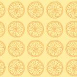 Teste padrão sem emenda Citrinos no fundo amarelo Fotografia de Stock Royalty Free