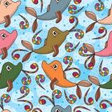 Teste padrão sem emenda colorido bonito da mosca do golfinho da baleia ilustração stock