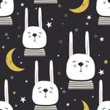 Teste padrão sem emenda colorido com coelhos, lua, estrelas ilustração stock